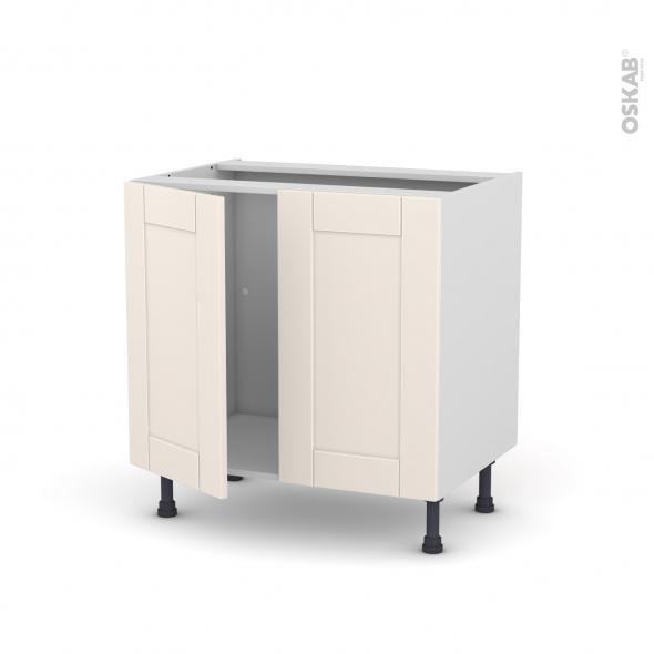 Meuble de cuisine - Sous évier - FILIPEN Ivoire - 2 portes - L80 x H70 x P58 cm
