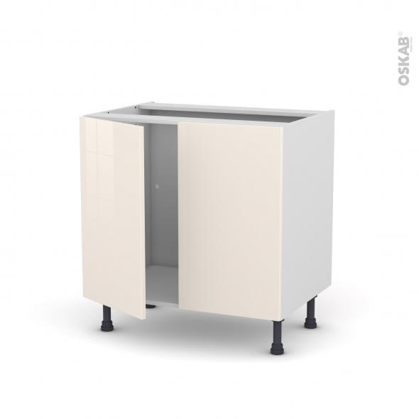 Meuble de cuisine - Sous évier - KERIA Ivoire - 2 portes - L80 x H70 x P58 cm
