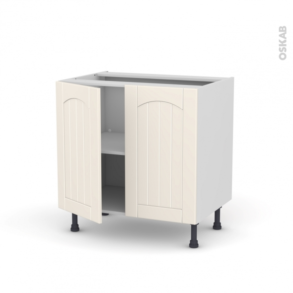 SILEN Ivoire - Meuble sous-évier - 2 portes - L80xH70xP58