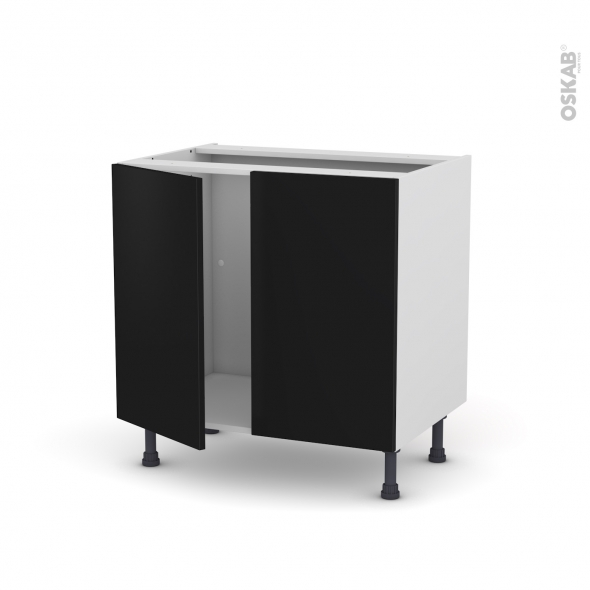 Meuble de cuisine - Sous évier - GINKO Noir - 2 portes - L80 x H70 x P58 cm