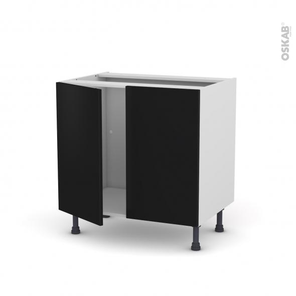 GINKO Noir - Meuble sous-évier  - 2 portes - L80xH70xP58