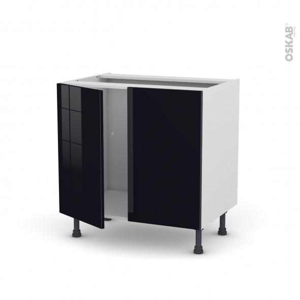 Meuble de cuisine - Sous évier - KERIA Noir - 2 portes - L80 x H70 x P58 cm
