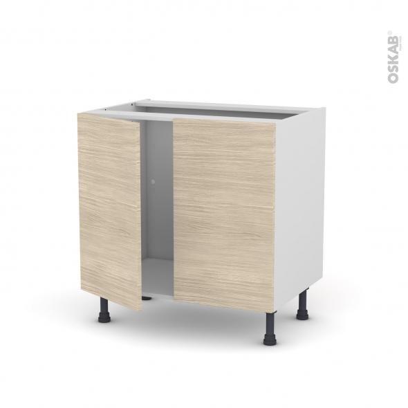 Meuble de cuisine - Sous évier - STILO Noyer Blanchi - 2 portes - L80 x H70 x P58 cm