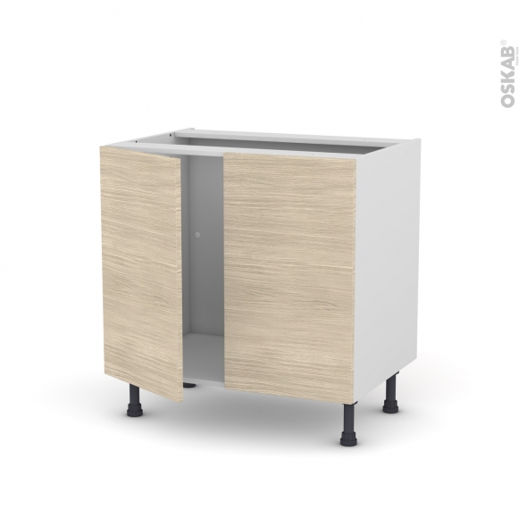 STILO Noyer Blanchi - Meuble sous-évier  - 2 portes - L80xH70xP58