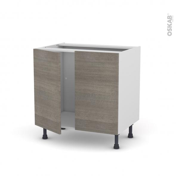 Meuble de cuisine - Sous évier - STILO Noyer Naturel - 2 portes - L80 x H70 x P58 cm