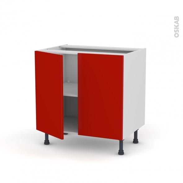 GINKO Rouge - Meuble sous-évier  - 2 portes - L80xH70xP58