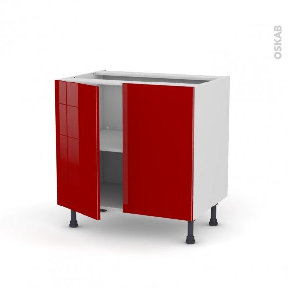 Meuble de cuisine - Sous évier - STECIA Rouge - 2 portes - L80 x H70 x P58 cm