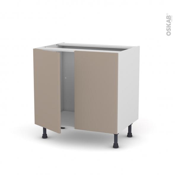Meuble de cuisine - Sous évier - GINKO Taupe - 2 portes - L80 x H70 x P58 cm