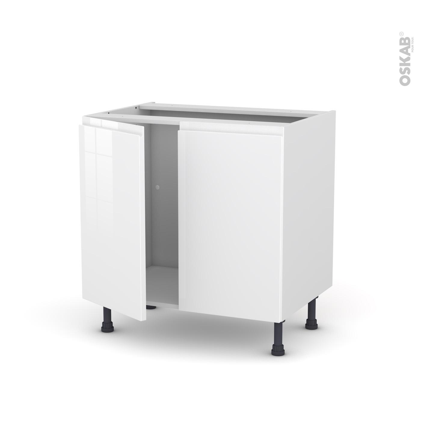 Meuble de cuisine Sous évier IPOMA Blanc brillant, 11 portes, L11 x H11 x  P11 cm