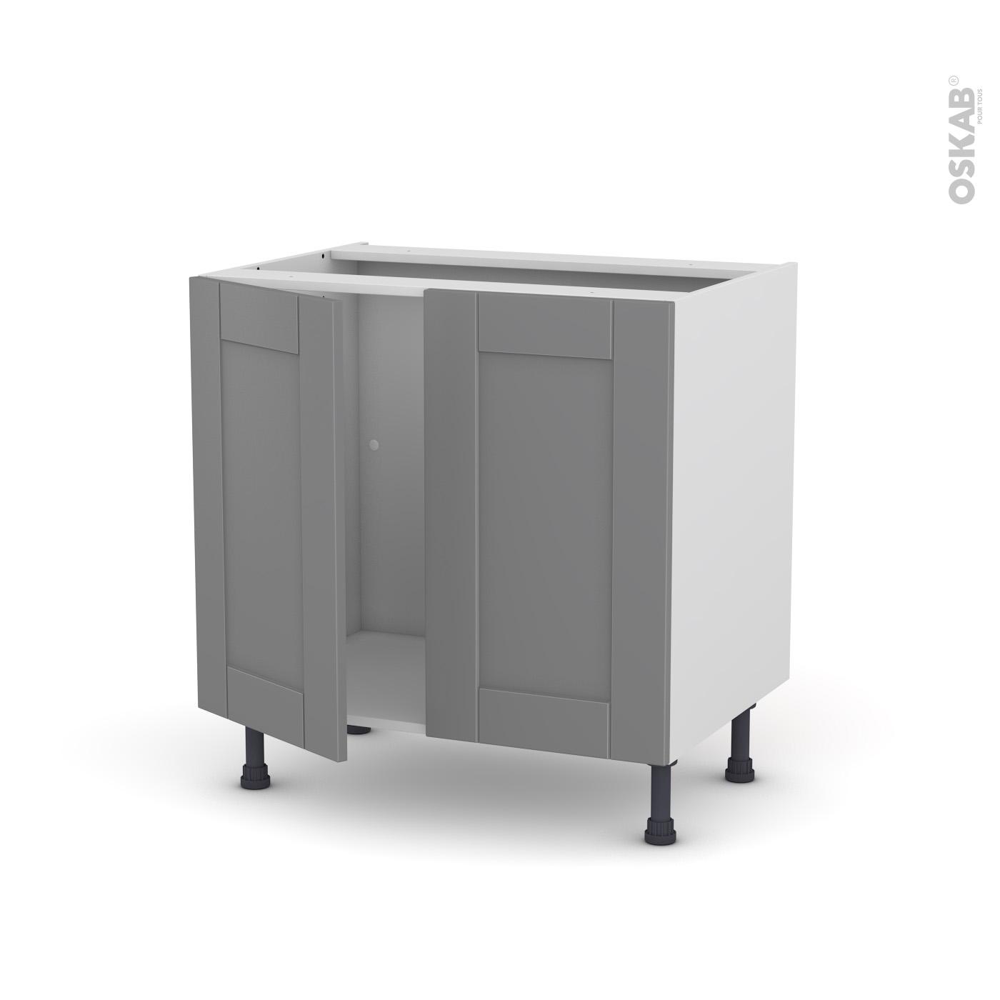 Porte Cuisine Montée Sur Cadre meuble de cuisine sous évier filipen gris, 2 portes, l80 x h70 x p58 cm