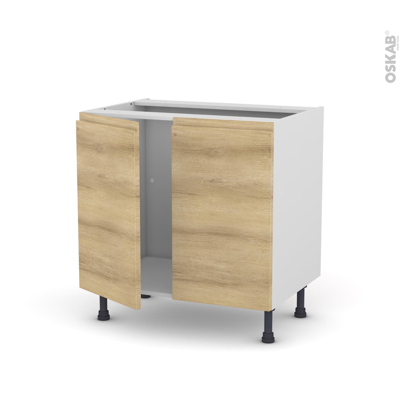Meuble Sous Evier Ancien meuble de cuisine sous évier ipoma chêne naturel, 2 portes, l80 x h70 x p58  cm