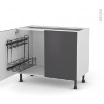 Meuble de cuisine - Sous évier - GINKO Gris - 2 portes lessiviel - L100 x H70 x P58 cm