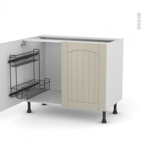 SILEN Argile - Meuble sous-évier - 2 portes lessiviel - L100xH70xP58