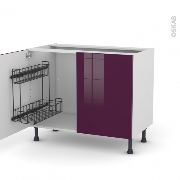 Meuble de cuisine - Sous évier - KERIA Aubergine - 2 portes lessiviel - L100 x H70 x P58 cm