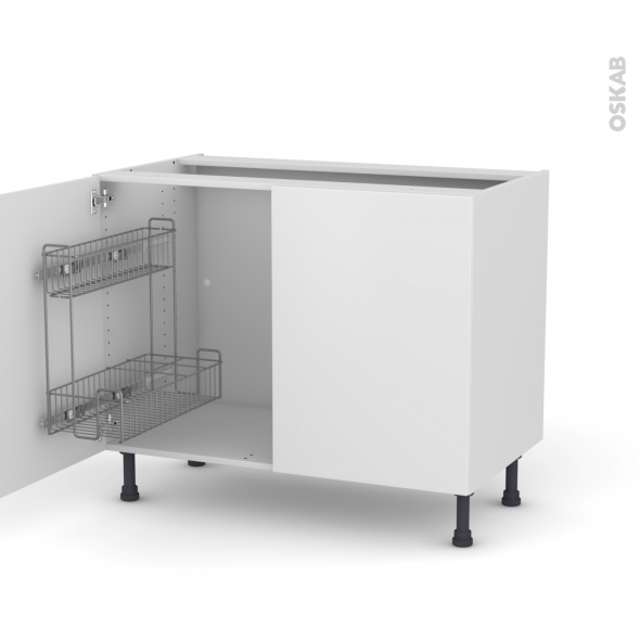 GINKO Blanc - Meuble sous-évier - 2 portes lessiviel - L100xH70xP58