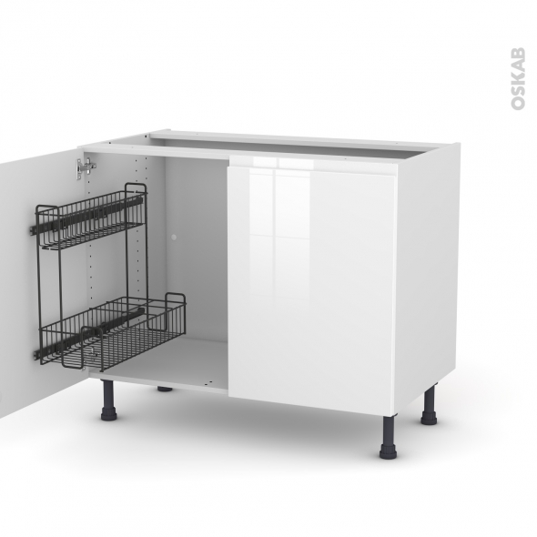 Meuble de cuisine - Sous évier - IPOMA Blanc - 2 portes lessiviel - L100 x H70 x P58 cm