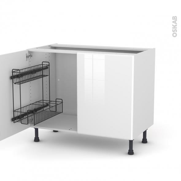 Meuble de cuisine - Sous évier - IRIS Blanc - 2 portes lessiviel - L100 x H70 x P58 cm