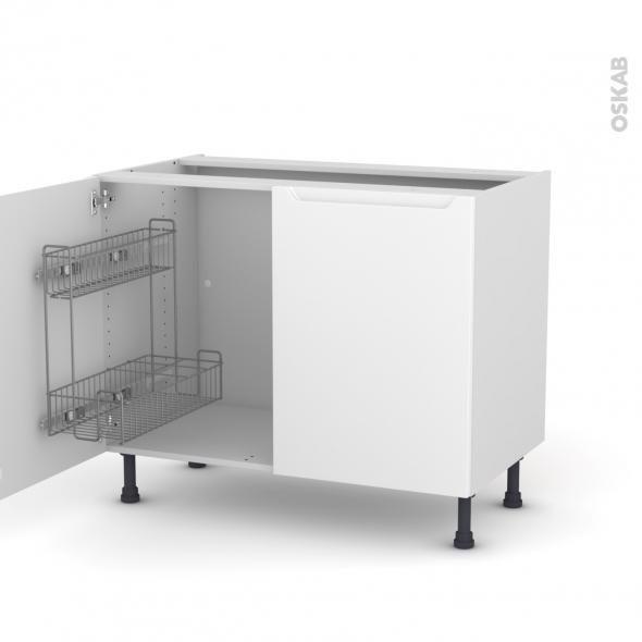 PIMA Blanc - Meuble sous-évier - 2 portes lessiviel - L100xH70xP58
