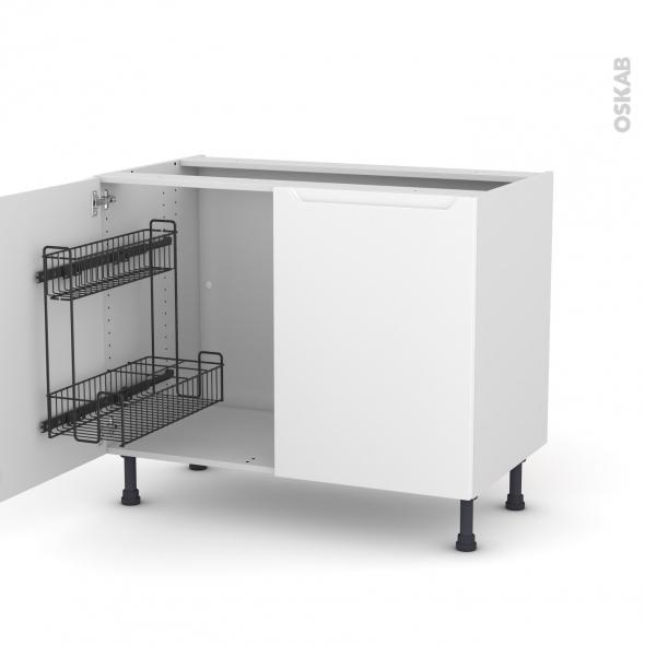 Meuble de cuisine - Sous évier - PIMA Blanc - 2 portes lessiviel - L100 x H70 x P58 cm