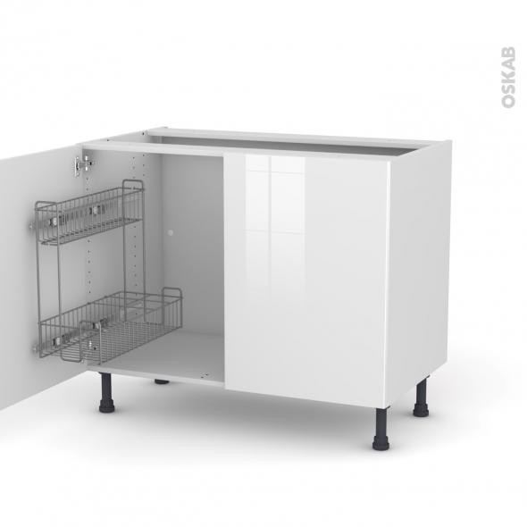 STECIA Blanc - Meuble sous-évier - 2 portes lessiviel - L100xH70xP58