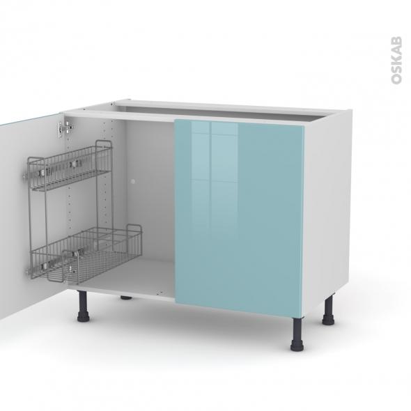 KERIA Bleu - Meuble sous-évier - 2 portes lessiviel - L100xH70xP58