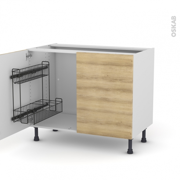 Meuble de cuisine - Sous évier - HOSTA Chêne naturel - 2 portes lessiviel - L100 x H70 x P58 cm
