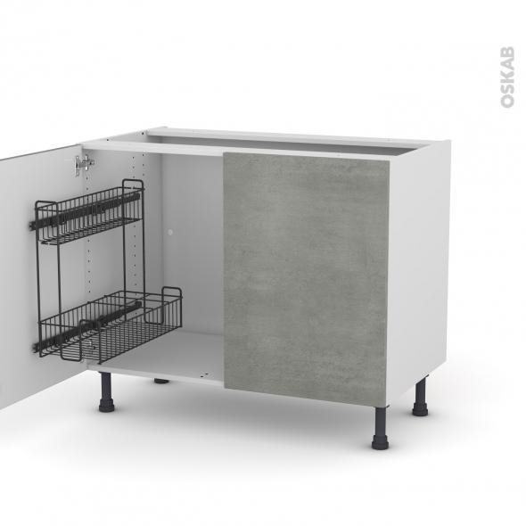 Meuble de cuisine - Sous évier - FAKTO Béton - 2 portes lessiviel - L100 x H70 x P58 cm