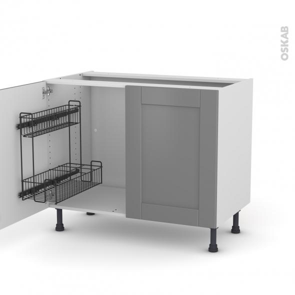 FILIPEN Gris - Meuble sous-évier - 2 portes lessiviel - L100xH70xP58