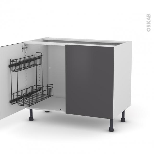 GINKO Gris - Meuble sous-évier - 2 portes lessiviel - L100xH70xP58