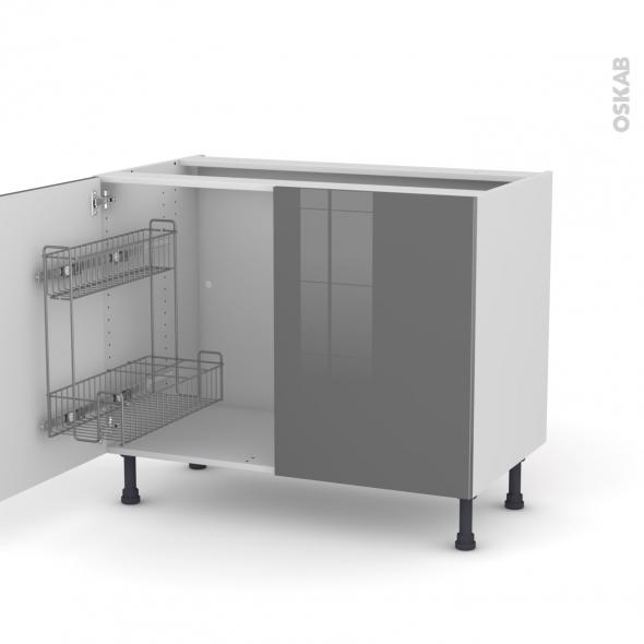 STECIA Gris - Meuble sous-évier - 2 portes lessiviel - L100xH70xP58