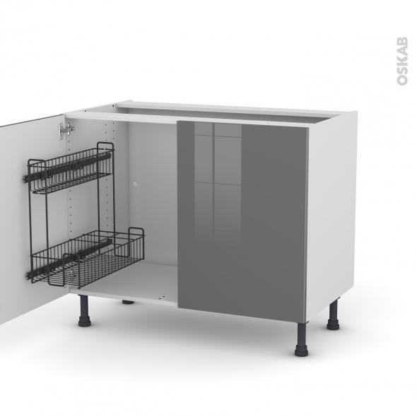 Meuble de cuisine - Sous évier - STECIA Gris - 2 portes lessiviel - L100 x H70 x P58 cm