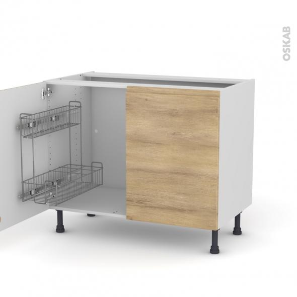 IPOMA Chêne Naturel - Meuble sous-évier - 2 portes lessiviel - L100xH70xP58