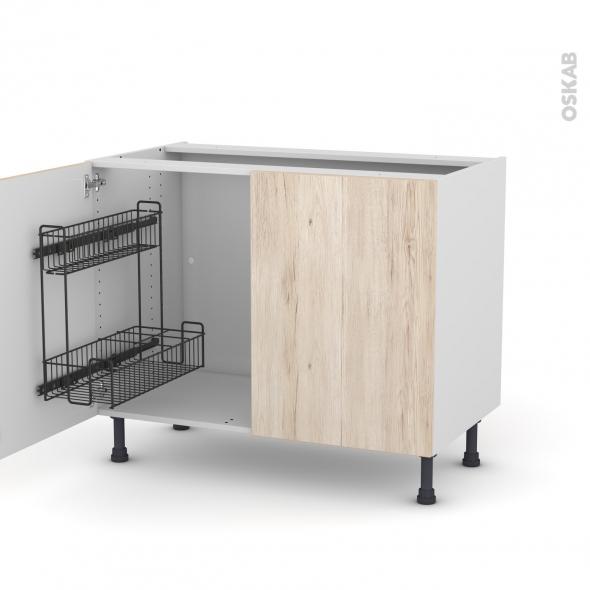 Meuble de cuisine - Sous évier - IKORO Chêne clair - 2 portes lessiviel - L100 x H70 x P58 cm