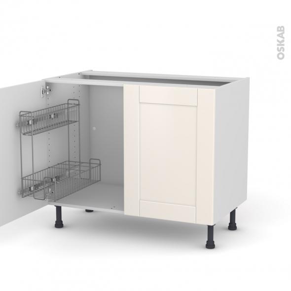 FILIPEN Ivoire - Meuble sous-évier - 2 portes lessiviel - L100xH70xP58