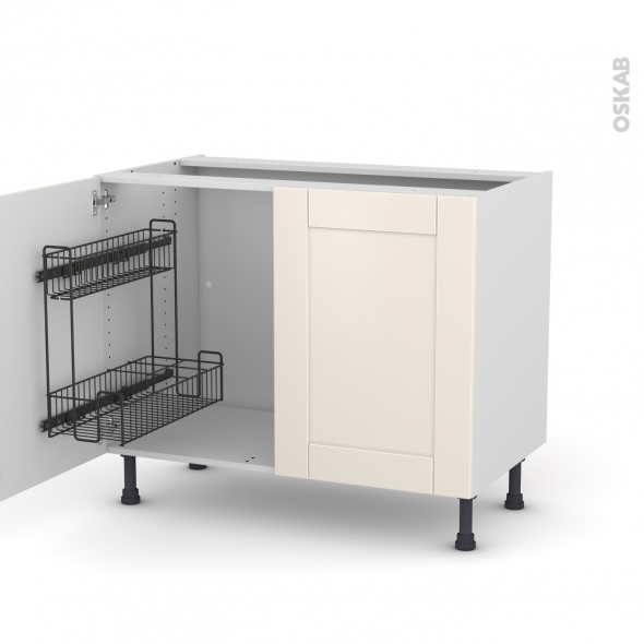 Meuble de cuisine - Sous évier - FILIPEN Ivoire - 2 portes lessiviel - L100 x H70 x P58 cm