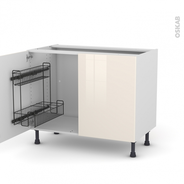 Meuble de cuisine - Sous évier - KERIA Ivoire - 2 portes lessiviel - L100 x H70 x P58 cm