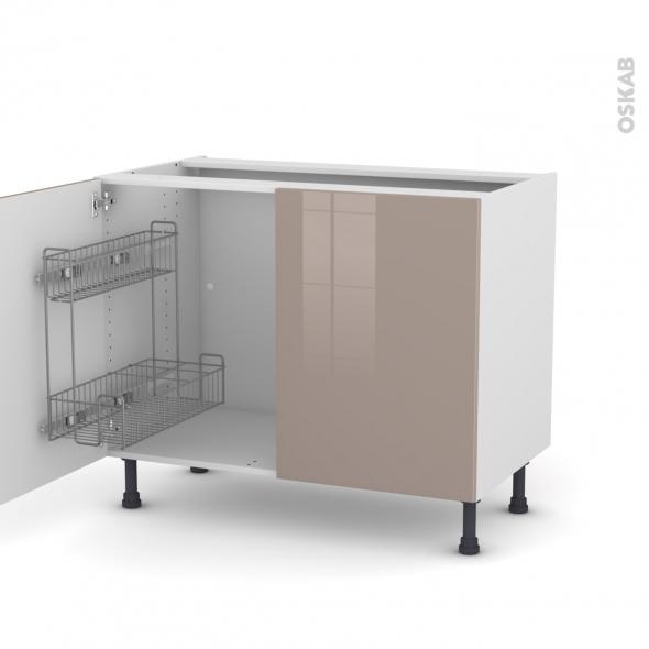 KERIA Moka - Meuble sous-évier - 2 portes lessiviel - L100xH70xP58