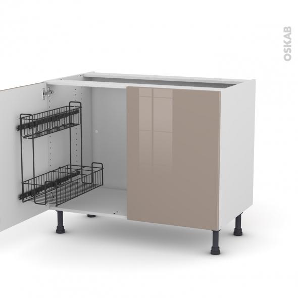 Meuble de cuisine - Sous évier - KERIA Moka - 2 portes lessiviel - L100 x H70 x P58 cm