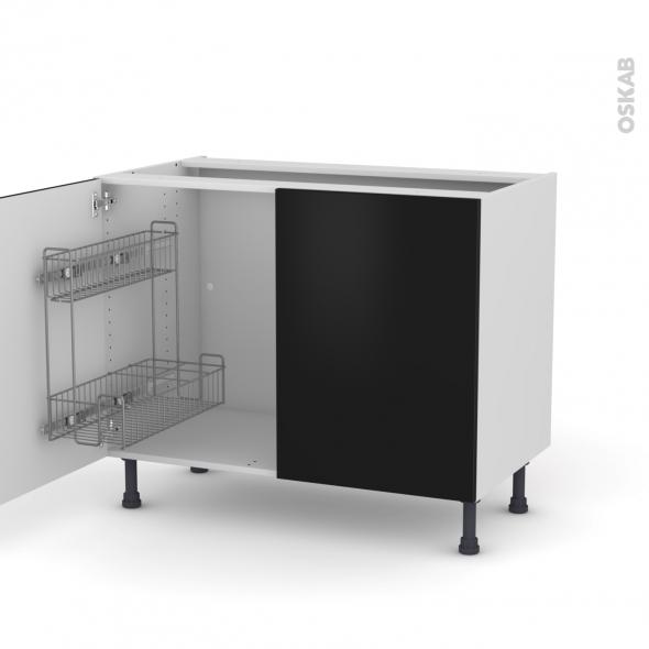 GINKO Noir - Meuble sous-évier - 2 portes lessiviel - L100xH70xP58