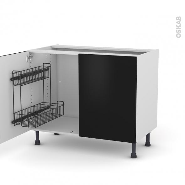 Meuble de cuisine - Sous évier - GINKO Noir - 2 portes lessiviel - L100 x H70 x P58 cm