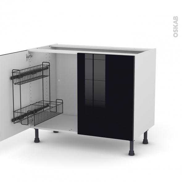 Meuble de cuisine - Sous évier - KERIA Noir - 2 portes lessiviel - L100 x H70 x P58 cm