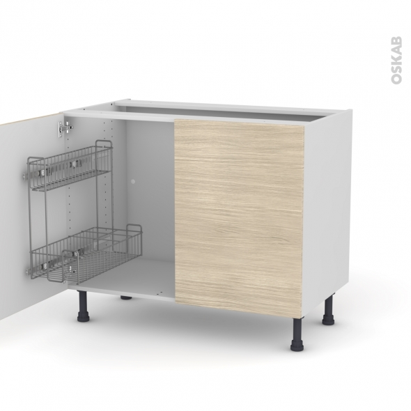 STILO Noyer Blanchi - Meuble sous-évier - 2 portes lessiviel - L100xH70xP58