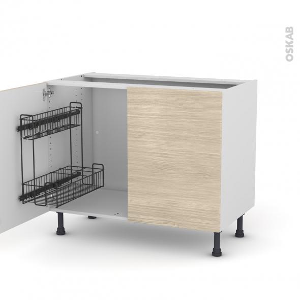 Meuble de cuisine - Sous évier - STILO Noyer Blanchi - 2 portes lessiviel - L100 x H70 x P58 cm