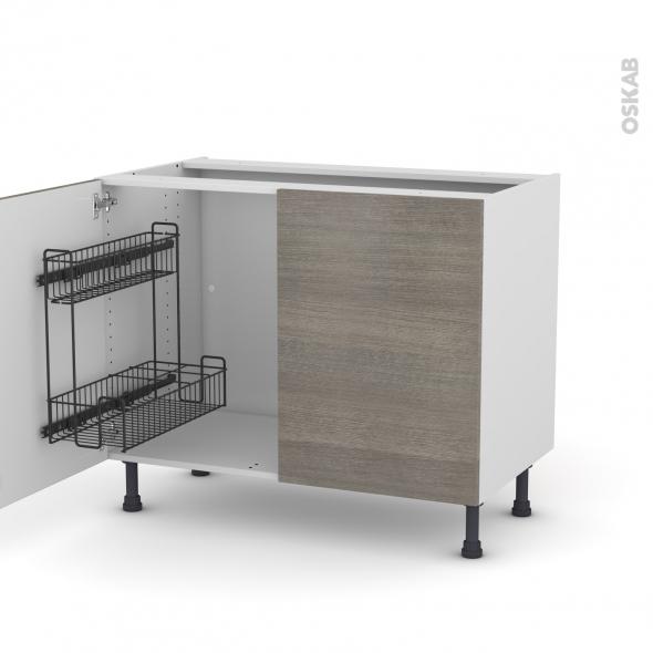 Meuble de cuisine - Sous évier - STILO Noyer Naturel - 2 portes lessiviel - L100 x H70 x P58 cm