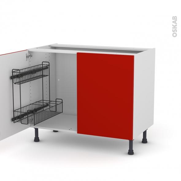 GINKO Rouge - Meuble sous-évier - 2 portes lessiviel - L100xH70xP58