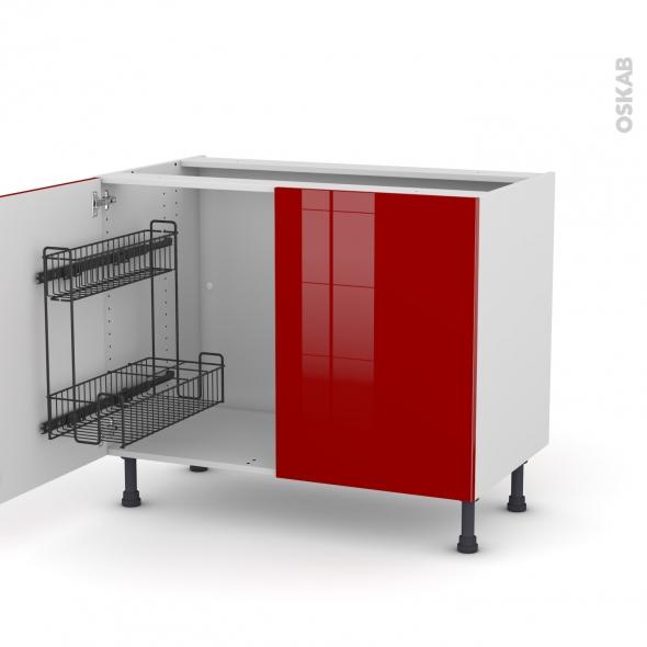 Meuble de cuisine - Sous évier - STECIA Rouge - 2 portes lessiviel - L100 x H70 x P58 cm