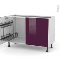 Meuble de cuisine - Sous évier - KERIA Aubergine - 2 portes lessiviel - L120 x H70 x P58 cm