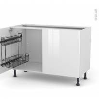 Meuble de cuisine - Sous évier - STECIA Blanc - 2 portes lessiviel - L120 x H70 x P58 cm