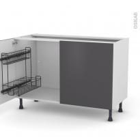 Meuble de cuisine - Sous évier - GINKO Gris - 2 portes lessiviel - L120 x H70 x P58 cm
