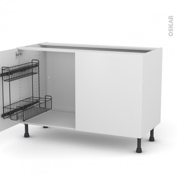 Meuble de cuisine - Sous évier - GINKO Blanc - 2 portes lessiviel - L120 x H70 x P58 cm